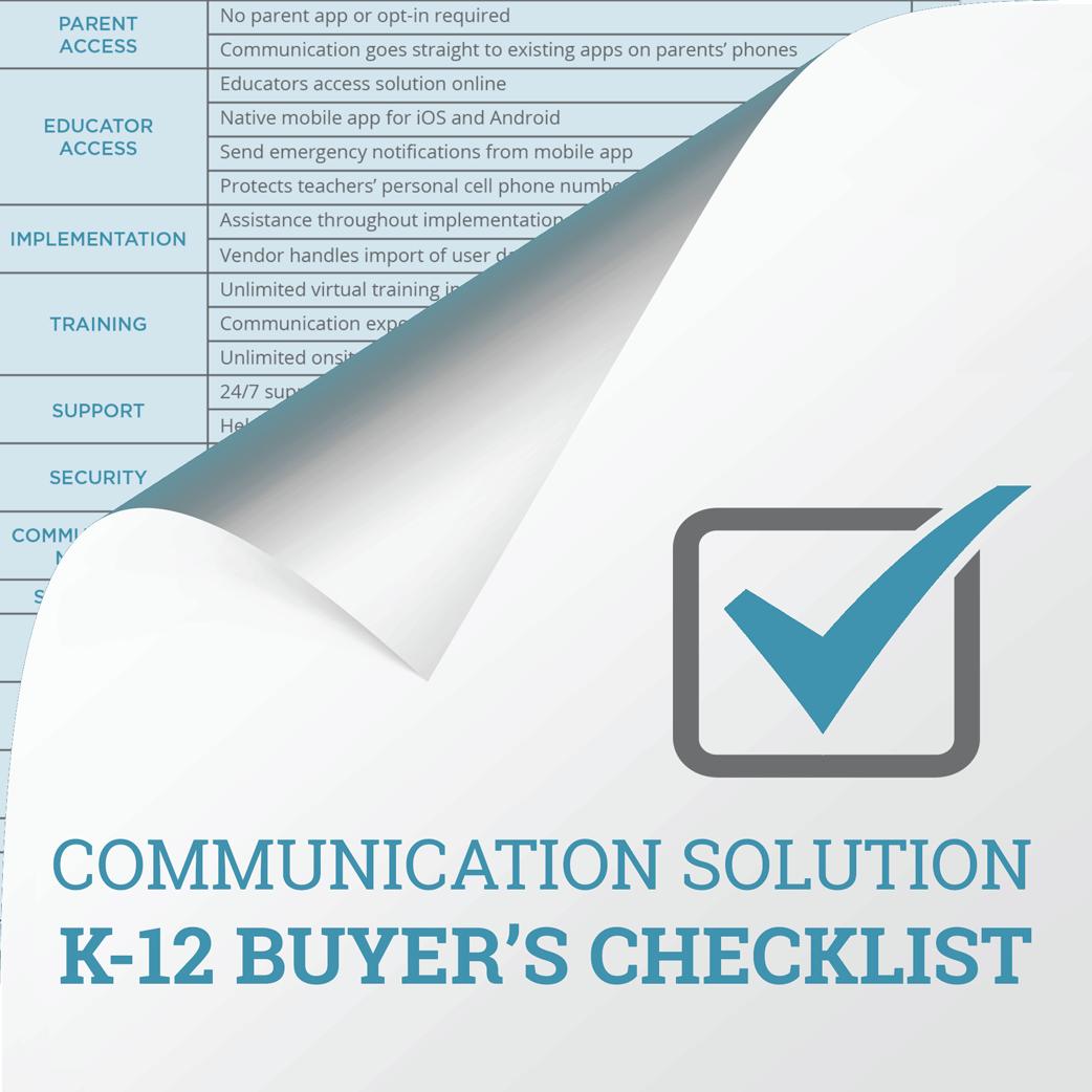 Communication Solutions K-12 Buyer's Checklist